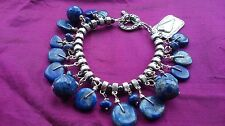 RUSTIC BLUE LAPIS LAZULI CHARM BRACELET HEART LOVE HIPPY BOHO STUNNING 272A