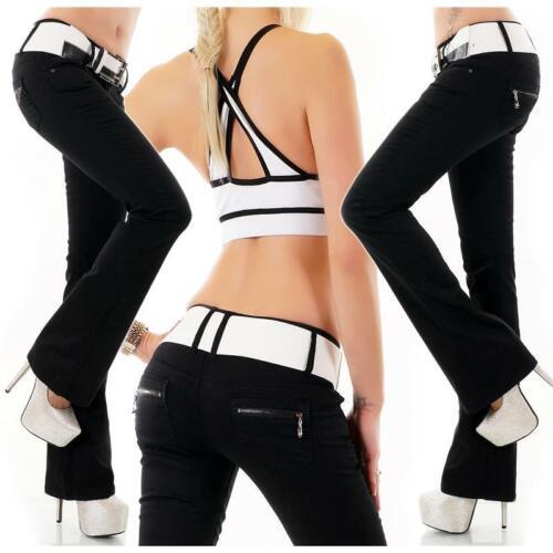 NERO #h1845 BLACK Denim Da Donna Bootcut Jeans Cintura Incl