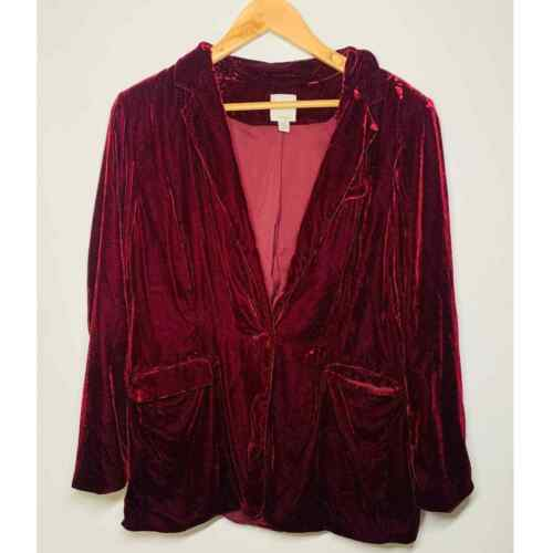 Halogen Red Wine Velvet Blazer Jacket Size XL - image 1