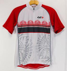 LOUIS-GARNEAU-LG-Short-Sleeve-CYCLING-JERSEY-Red-White-1-2-Zip-Shirt-WOMEN-LARGE