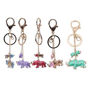 Cute-Key-Ring-Rhinoceros-Pendent-Metal-Pendant-Handbag-Animal-Creative-Keychain