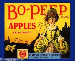 Wenatchee Washington State Boy Blue Apple Fruit Crate Label Art Print