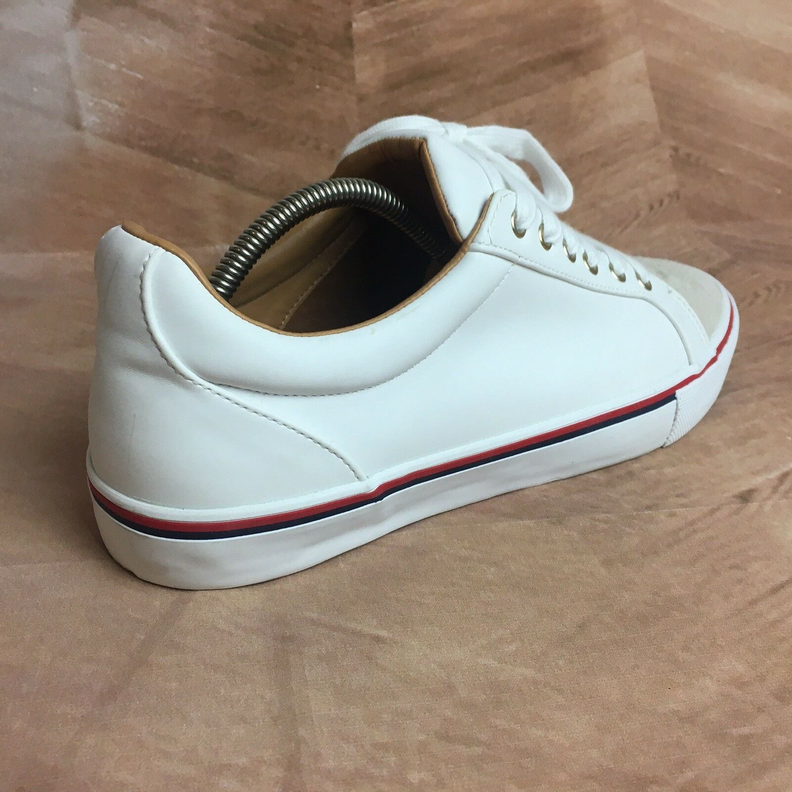 Men's Zara Fabric Athletic Sneakers shoes, White Tan Lace Up Size 43 EUR