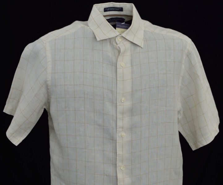 Men's DANIEL CREMIEUX Ecru Plaid Short Sleeve S S Linen Shirt Small S NWT NEW