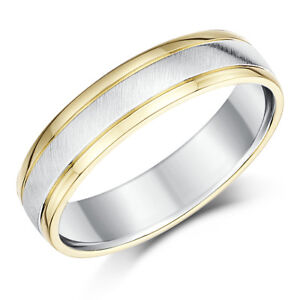 Sterling Silver And 9ct Yellow Gold Two Tone Wedding Ring 5mm Men S