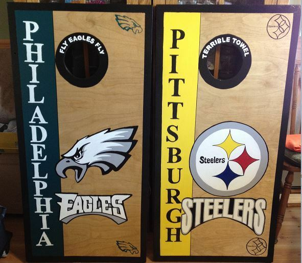 Philadelphia Eagles Pittsburgh Steelers Stained Cornhole with free bags