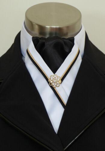 "Black /& Gold Piping /& Pin ERA /""Rachael/"" White Satin Stock Tie Black Centre"