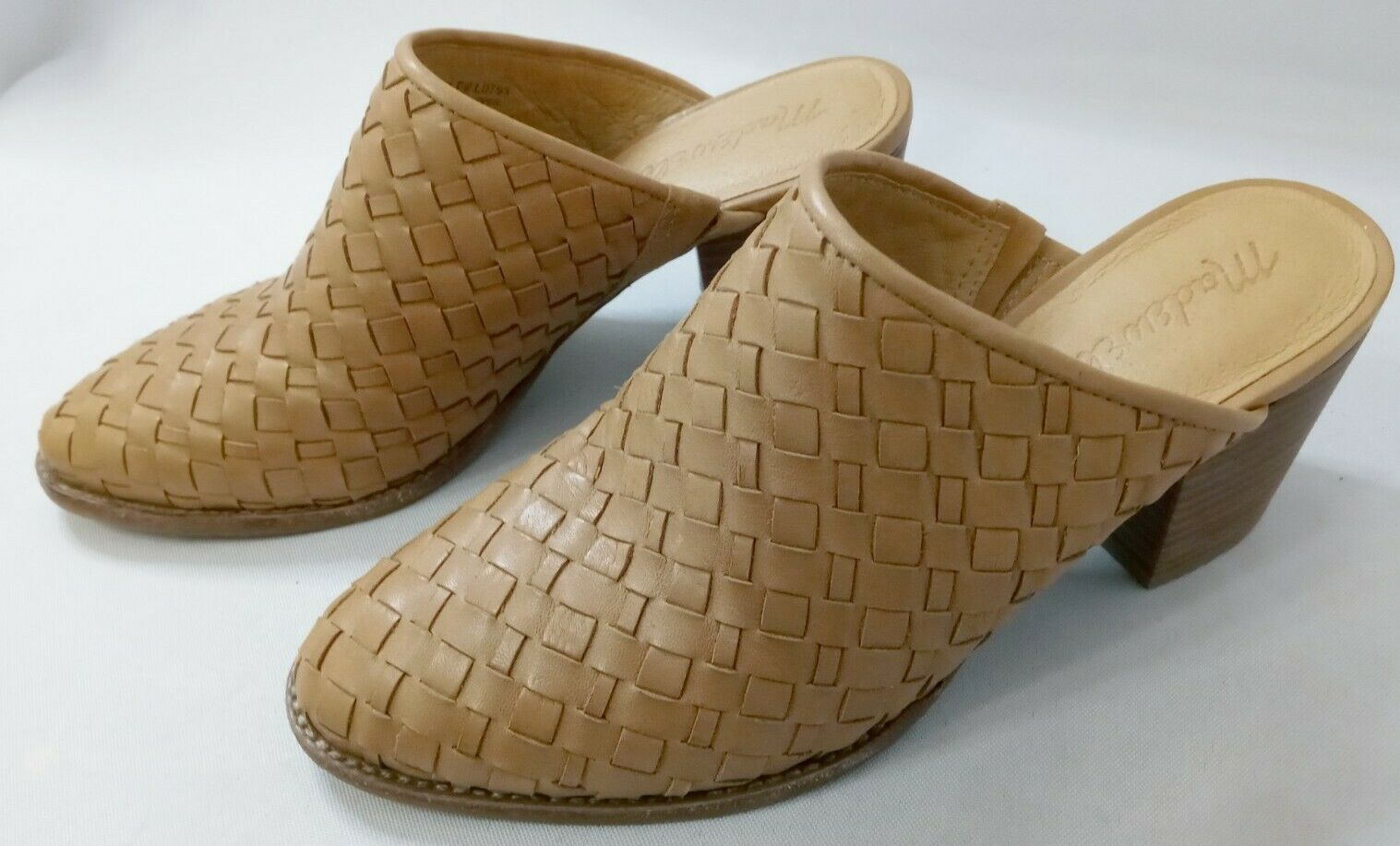 MADEWELL - The Harper Mule In Woven Leather - Tan Womens Size 6 - VERY NICE!
