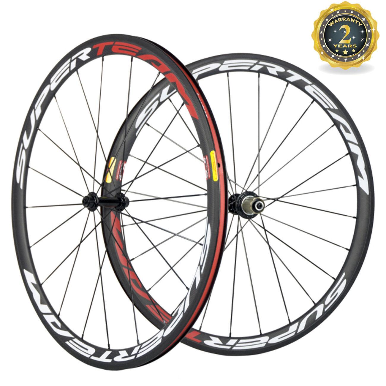 Superteam Wheels 38mm Depth Clincher Road Bike In USA Warehouse White & Red New