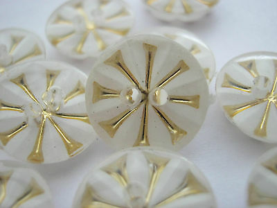 10 White Snowflakes Buttons 13mm (1/2 inch) White Gold Buttons Xmas Clothing