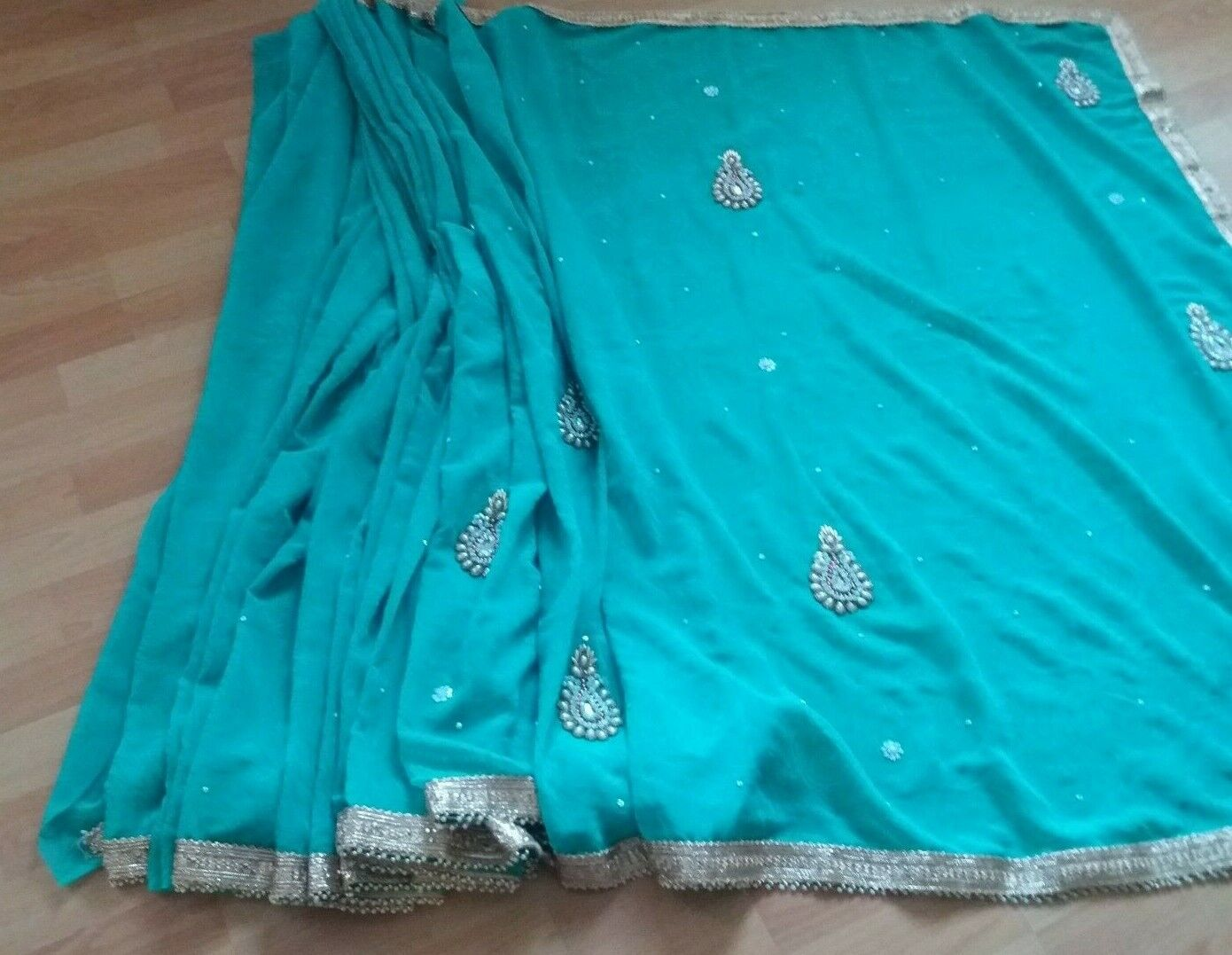 Traditional Beautiful Sea Green Sari with Heavy Border with Pearl & Stones