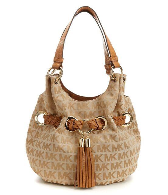 577db464c8d6 Michael Kors Braided Grommet Large MK Signature Shoulder Bag Camel Gold. +.  $163.76Brand New