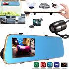 """4.3"""" 1080p Dual Lens 140° Gravity Sensor Dash Cam Rearview Mirror Car Camera DVR"""
