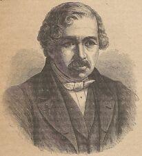 A4631 Ritratto di Luigi Giacomo Daguerre - Incisione - Stampa Antica del 1889