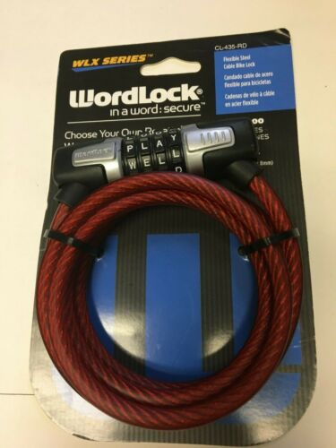 Wordlock WLX series CL-435-RD 5 Feet 4-Dial 8mm Combination Bike Lock NEW RED