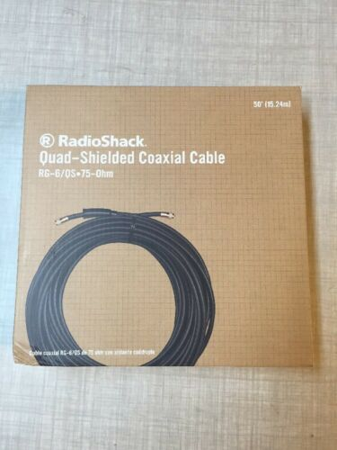 Quad-Shielded Coax Cable RG-6//QS Indoor//Outdoor Use NEW RadioShack 50Ft