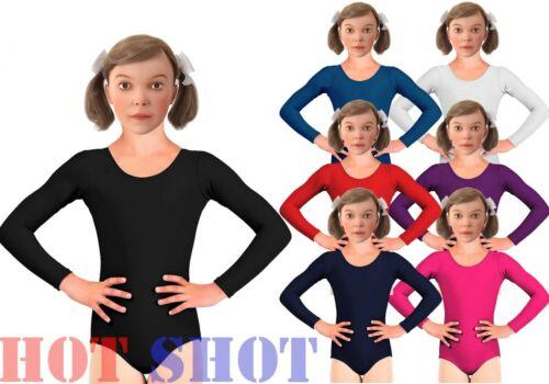 Girls Kids Children Sleeved Leotard Gymnastics Jazz Dance Ballet Uniform Top