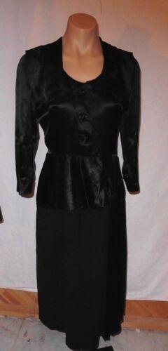 30s 40s Black Crepe & Satin VERY HARLOW Dress w/ P