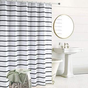 Hooks Beige White Striped Farmhouse Masculine Waterproof Fabric Shower Curtain