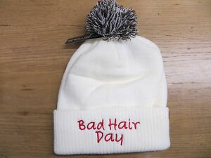 Personalised Adult Winter Pom Pom Hat Unisex   Bad Hair Day   Own ... c5d3388da24