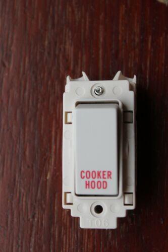 Crabtree Volex rockergrid Grille Module VX3460 20AX DP Interrupteur Blanc Pour Hotte de cuisinière