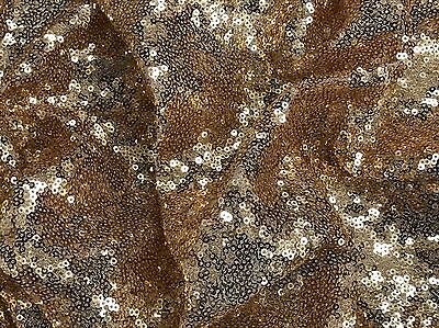 "Gold Mini Disk Sequins Fabric On Nylon Stretch Mesh 60"" Wide"
