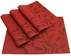 Placemats-PVC-Set-of-4-Washable-Woven-Non-Slip-Dinner-Table-Mat-11-8-039-039-X17-7-039-039-Red