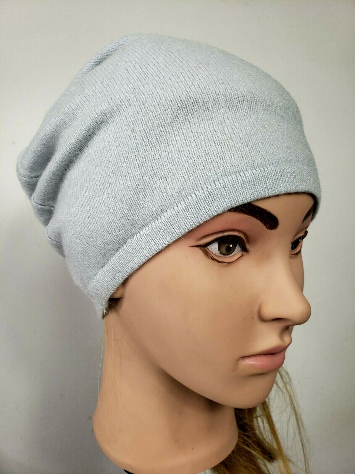 # 100% Pure Cashmere Sombrero Gorro de Lana Hombre Mujer Unisex Azul Pálido hecha a mano 222