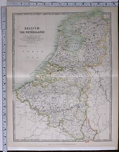 1915 LARGE MAP BELGIUM THE NETHERLANDS ANTWERP HOLLAND LIMBOURG