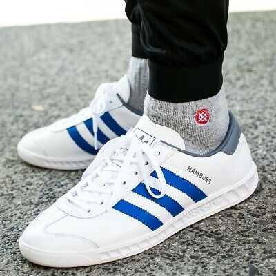 Adidas Hamburg RARE 13 WHITE LEATHER / BLUE STRIPE NEW spezial samba trimm | eBay