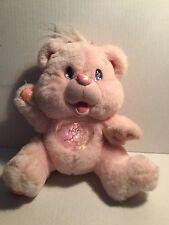 "1995 Fantasy Twinkle Pink Bear WORKS Tummy lights up 10"" vintage plush"