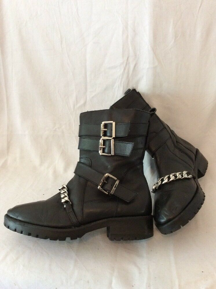 River Island Black Mid Calf Leather Boots Size 7