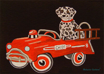 ACEO Melanie Gerleve Loyal Dalmation Dog Antique Red Fire Truck Pedal Car Toy