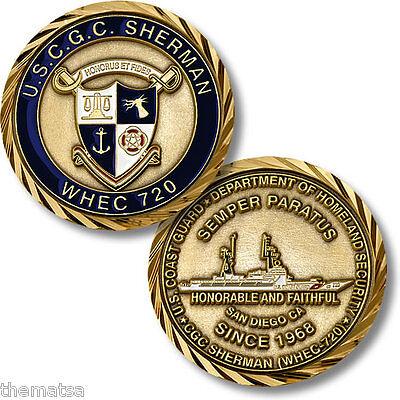 "USCG COAST GUARD  CUTTER USCGC SHERMAN WHEC-720 1.75"" CHALLENGE COIN"