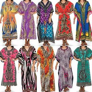 Women-039-s-Caftan-Dress-Kaftan-dashiki-Hippie-Boho-Maxi-Gown-Beach-Cover-Plus-size