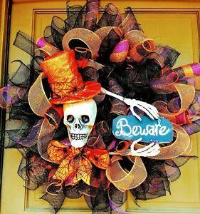 Handmade-Halloween-Skeleton-with-Top-Hat-Wreath-Skull-amp-BEWARE-Sign-Door-Decor