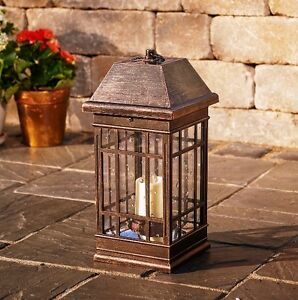 Mission Style Solar Lantern Outdoor Lighting LED Lamp Patio Garden