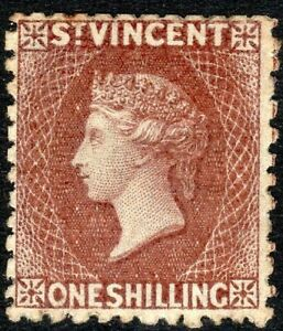 St Vincent 1869 brown 1/- no watermark perf 11 mint SG14