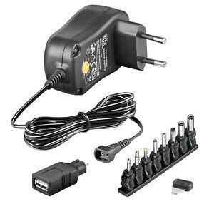 NETZTEIL 3V 4,5V 5V 6V 7,5V 9V 12V 1000mA inkl 5V USB