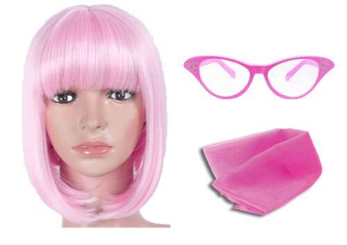 Damen Rosa Brillen Perücke Kurzer Bob und Halstuch 1950er Jahre