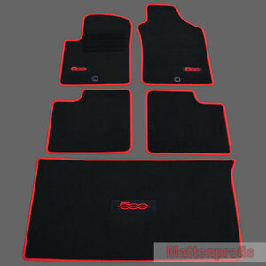 velours logo fu matten kofferraum set f r fiat 500 500 cabrio 2007 2013 rot ebay. Black Bedroom Furniture Sets. Home Design Ideas