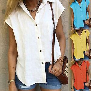 3a30431e5a10b Das Bild wird geladen Damen-Hemd-Bluse-Mit-Knoepfe-V-Ausschnitt-Leinen-