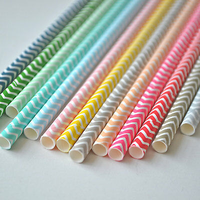 100pcs mixed colors chevron paper straws wedding baby shower party tableware