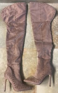 5dc0bf2a205 Image is loading AYREL-Studded-Over-The-Knee-Boots-Size-6-