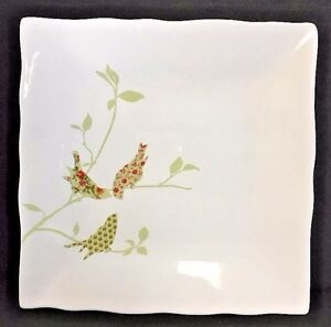 Image is loading 222-Fifth-Chintz-Birds-Square-Dinner-Plates-Wavy- & 222 Fifth Chintz Birds Square Dinner Plates Wavy Edge 10 3/8 Inch DF ...