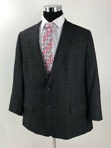 Calvin Klein Gray Purple Plaid 2 Button Wool Sport Coat Mens Size 50R Slim Fit