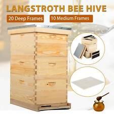 Complete Bee Hive Beehive 20 Deep 10 Medium Frames With Metal Roof For Beekeeping