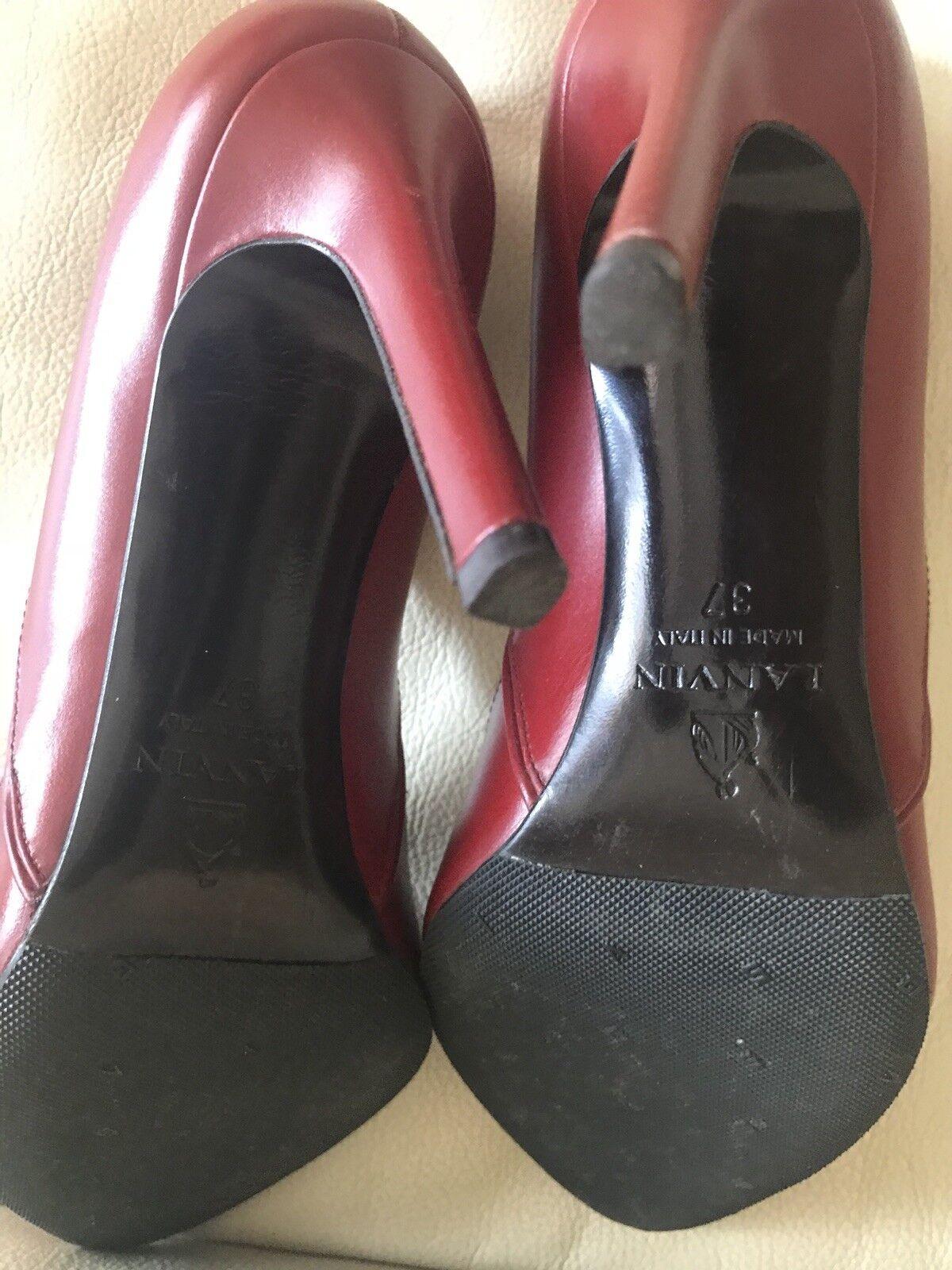 Lanvin Rojo Profundo Rojo Lanvin Cuero Mujeres BOMBAS Zapatos De Tacón 37 097b51