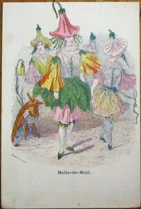 Grandville-Artist-Signed-1900-Flower-Plant-Person-Postcard-Belle-de-Nuit