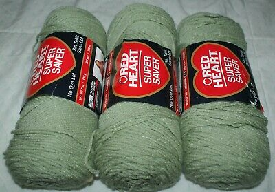 NEW  3 Skeins of Red Heart Super Yarn Total Wt 21 oz   Color Frosty Green #0661